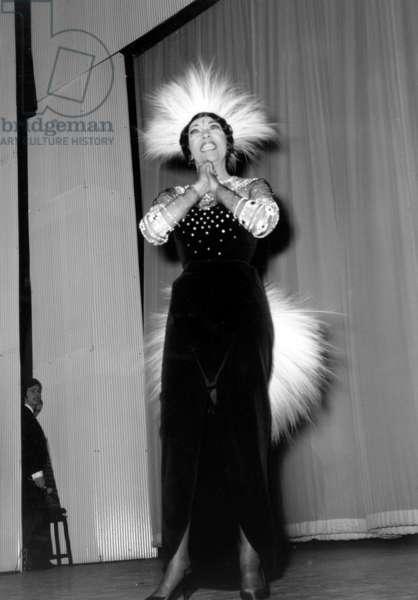 Josephine Baker at The Olympia (Paris) on April 5, 1968 (b/w photo)