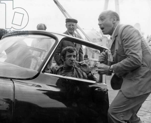 Bourvil, Jean Paul Belmondo, Gerard Oury on Set of Film The Brain 1968 (b/w photo)