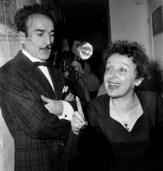 French Composer and Lyric Writer Michel Rivgauche With Singer Edith Piaf on November 21, 1959 (b/w photo)