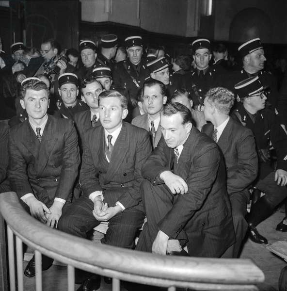 Trial of Oradour-sur-Glane at Bordeaux military court on January 13, 1953 : the defendants (b/w photo)