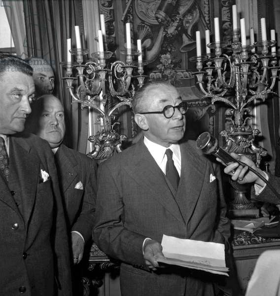 French ministerial crisis on October 9, 1949 at the Elysee, in Paris : French politician Paul Reynaud (b/w photo)