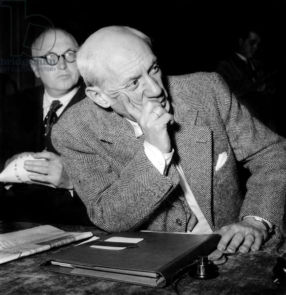 Pablo Picasso at Congress For Peace in Paris April 20, 1949 (b/w photo)