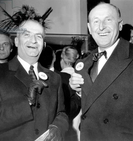 "French Actors Louis De Funes Et Bourvil at Premiere of Film ""Don'T Look Now - We'Re Being Shot At"" December 08, 1966 - Badge (b/w photo)"