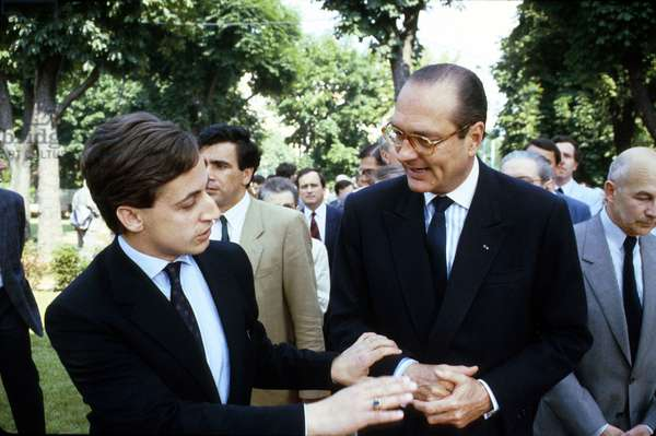 French Prime Minister Jacques Chirac Visiting Integrated Development Zone With Nicolas Sarkozy June 1986, France (photo)