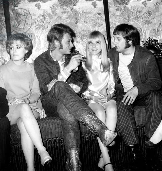 Georgette Lemaire, Johnny Hallyday, France Gall and Rosko during Cocktail Juna 21, 1967 (b/w photo)