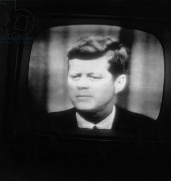 Press Conference of Jfk in Live on Paris Tv Screen : First of Mondovision Capted By Pleumeur Bodou Station Through Telstar Satellite, July 24, 1962 (b/w photo)
