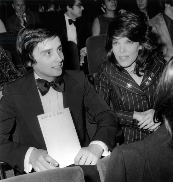 Thierry Le Luron and Singer Dany at Premiere of -Dalida at The Olympia in Paris, November 24, 1971 (b/w photo)