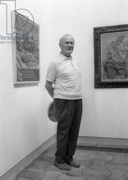 Joan Miro at the Maeght Foundation in Saint Paul de Vence where an exhibition of his work was organised for his 75th birthday, July 24, 1968 (photography)