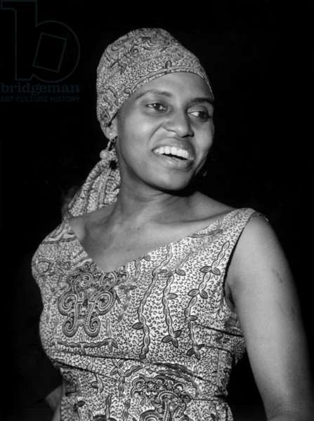 South African Singer Miriam Makeba on Stage at Olympia in Paris May 13, 1964 (b/w photo)