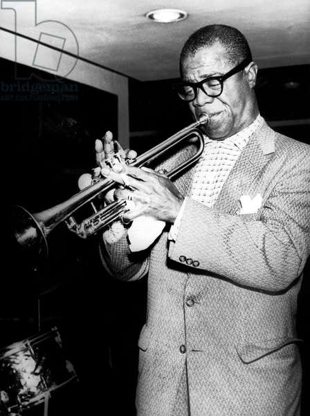 Jazzman Louis Armstrong December 18, 1956 (b/w photo)
