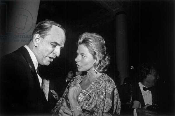 Ingmar Bergman and Ingrid Bergman at Cannes Festival May 21, 1973 (b/w photo)