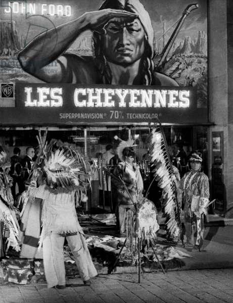 Premiere of Film Cheyenne Autumn, October 29, 1964, Paris : Indians Outside Movie Theatre (b/w photo)