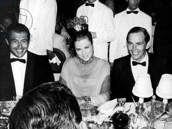 Princess Grace of Monaco and Christian Barnard during Gala of Red Cross in Monaco, August 10, 1968 (b/w photo)