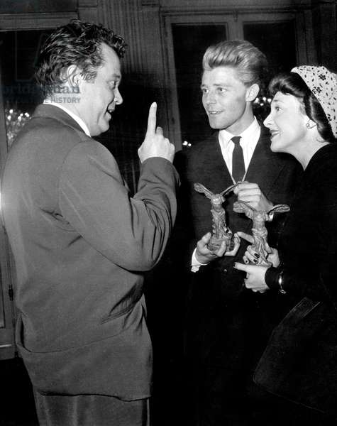 Orson Welles Congratulating French Actors Gerard Philippe and Micheline Presle For Their French Movie Prize October 11, 1948 (b/w photo)