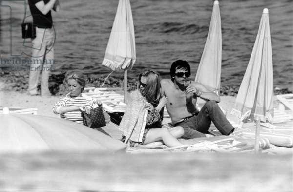 Francois Dorleac with her sister, Catherine Deneuve and husband, David Bailey, Saint Tropez, c.1966-67 (b/w photo)