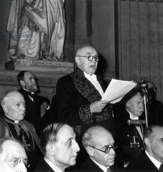 Paul Claudel (1868-1955) during his Speech To The French Academy on March 13Th, 1947  (b/w photo)