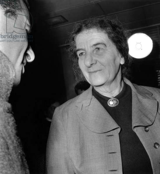 Golda Meir, Israeli Minister of Foreign Affairs, in Paris in 1957 (b/w photo)