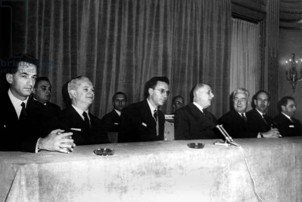 L-R Alain Peyrefitte, Roger Frey (Minister of Interior), French President Charles De Gaulle, Louis Joxe (Minister of Algerian Affairs), Valery Giscard D'Estaing and Michel Habib Deloncle (Secretary of State For Foreign Affairs in 1962-1966) November 19, 1963 at The Time of War in Algeria (b/w photo)