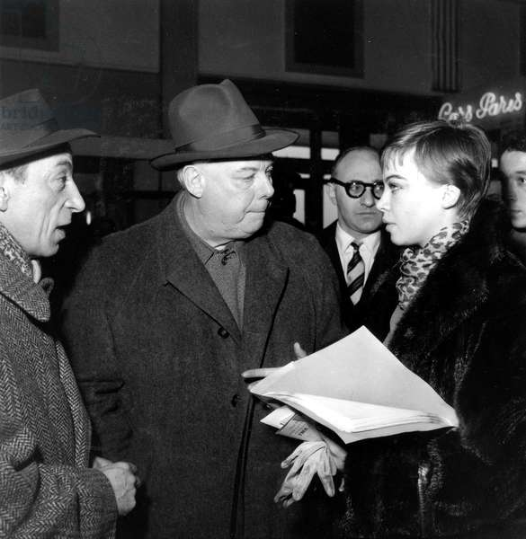Jean Bussiere, Jean Renoir and Leslie Caron at Orly Airport Preparing Play Orvet January 24, 1955 (b/w photo)