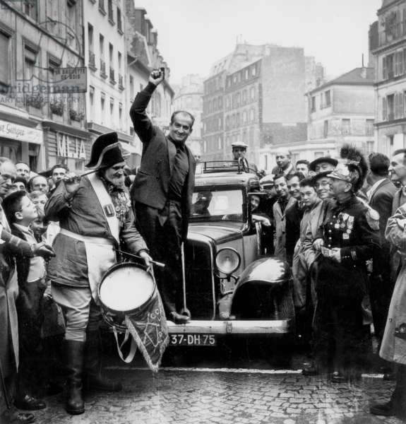 Anatole and Louis De Funes at Taxi Rally in Montmartre in Paris October 19, 1958 (b/w photo)