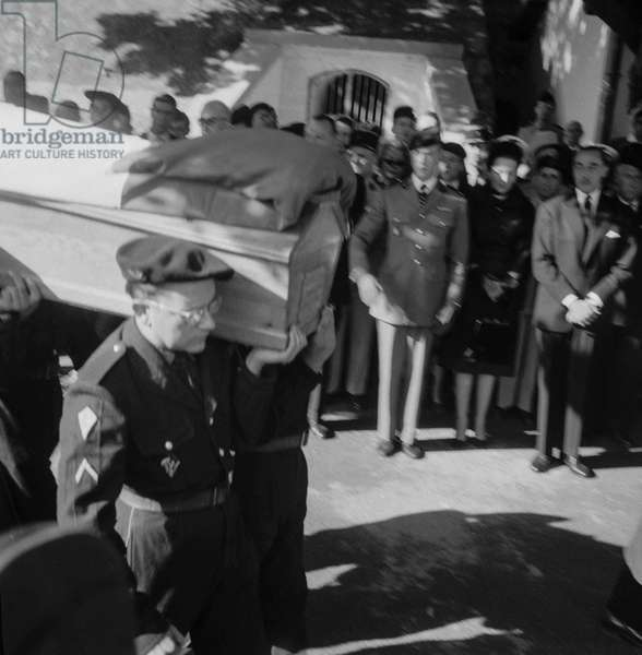 Funeral of Francois de France, prince of Orleans, in Algiers, October 14, 1960 (b/w photo)
