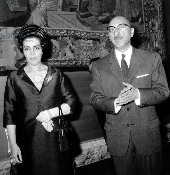 King of Afghanistan Mohamed Zaher Shah and his Wife Queen Homaira in Paris, June 3, 1965 (b/w photo)