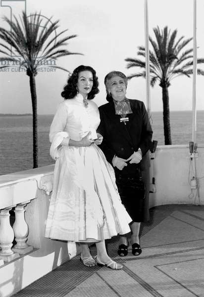 Actress Maria Felix With The Famous Beautiful Otero at Film Festival in Cannes April 4, 1954 (b/w photo)