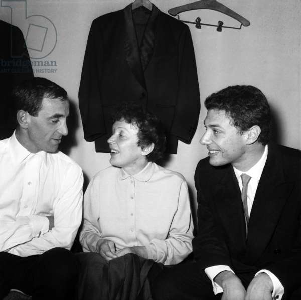 Edith Piaf and Georges Moustaki Congratulating Charles Aznavour After his Show in Paris October 9, 1958 (b/w photo)