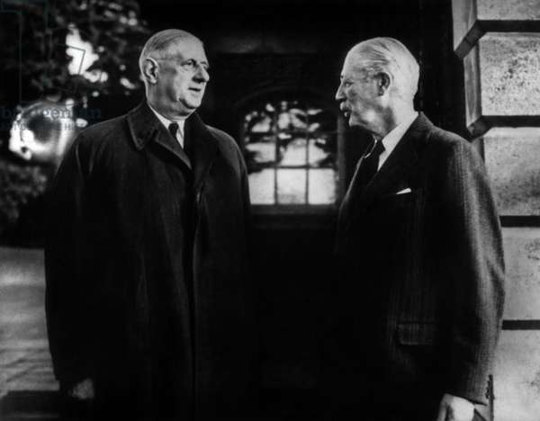 General De Gaulle And Mr Harold Mac Millan A Birch Grove November 26, 1961 (b/w photo)