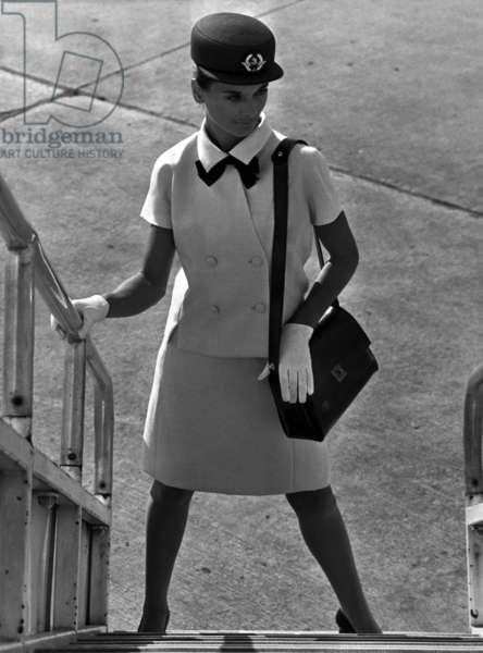 Air France Stewardess With A Summer Suit By Balenciaga, December 9, 1968 (b/w photo)