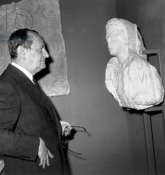 French Minister of Culture during Exhibition in The Louvre Museum in Paris on October 29, 1968 (b/w photo)