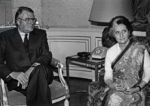 Pierre Mauroy, French Prime Minister, and Indira Gandhi during A Meeting in Matignon, Paris, November 13, 1981 (b/w photo)