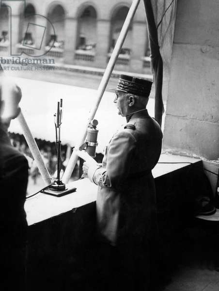 French Marshal Philippe Petain during A Speech in Paris C. 1938 (b/w photo)