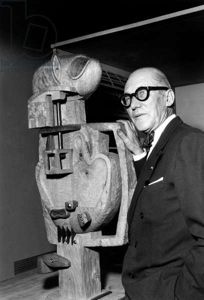 French Artist and Architect Le Corbusier (1887-1965) With One of his Sculptures during Exhibition in Paris November 1953 (b/w photo)