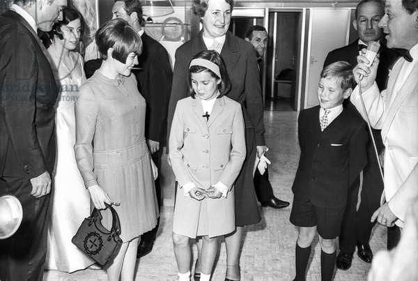 "Princesse Caroline of Monaco and Prince Albert (future Albert II) with Mireille Mathieu on boat ""Renaissance"" in 1966 (b/w photo)"