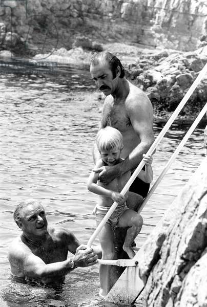 Sean Connery on Holidays in Antibes, France, July 1967 (b/w photo)