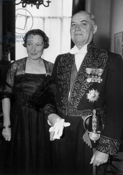The Field Marshal Alphonse Juin and his Wife Marie Juin The Day of his Admission Into The Academie Francaise in Paris, 1953 (b/w photo)