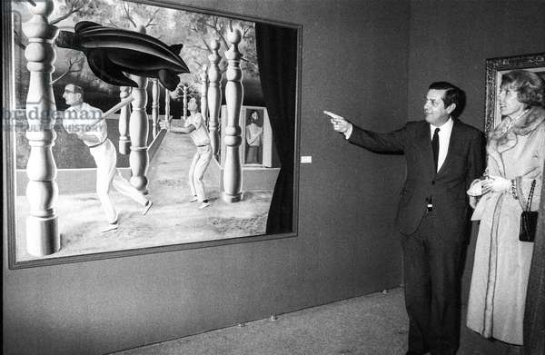 Exhibition about Rene Magritte at the Centre Georges Pompidou in Paris, January 18, 1979 (b/w photo)