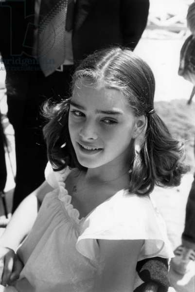 """Brooke Shields, 13 Years Old, in Cannes For Screening of Film """"Pretty Baby"""" May 25, 1978 (b/w photo)"""