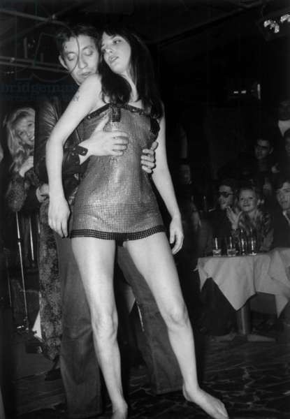 """Serge Gainsbourg and Jane Birkin Dor Launch of Song """"La Decadanse"""" at The Whisky A Gogo Nightclub during Midem Festival in Cannes January 20, 1972 (b/w photo)"""