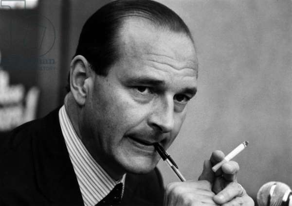 Jacques Chirac during Radiorpogram, March 5, 1979 (b/w photo)