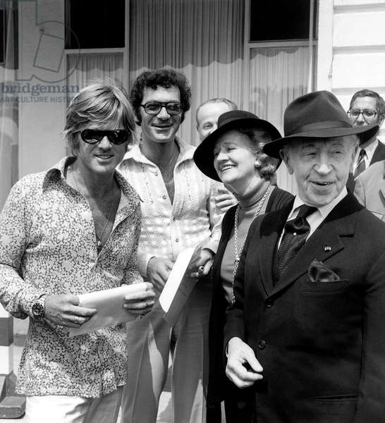 Staff For Film Jeremiah Johnson L-R Robert Redford Sydney Pollack and Mr and Mrs Arthur Rubinstein at Cannes Film Festival May 9, 1972 (b/w photo)