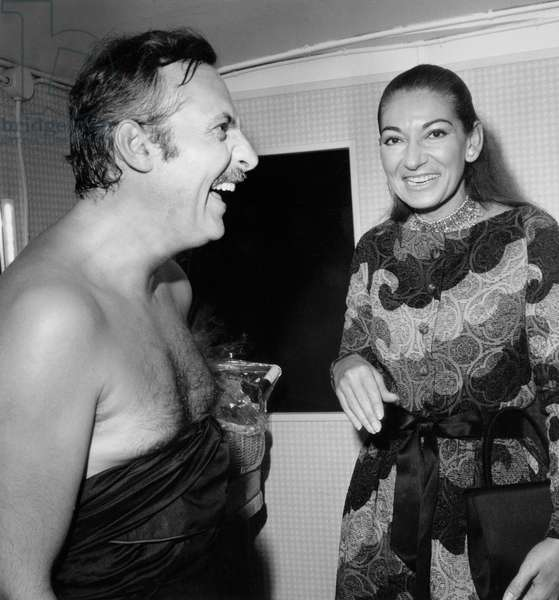 Michel Serrault Congratulated By Maria Callas in his Dressing Room on September 22, 1970 (b/w photo)