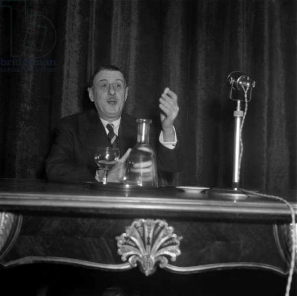 French General Charles De Gaulle during A Press Conference in Paris, November 12, 1947 (b/w photo)