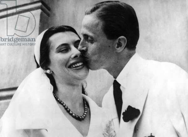Nina Dyer and Hans Heinrich Von Thyssen Bornemisza C. 1954 (b/w photo)