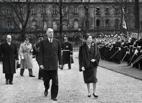 Grand-Duchess Charlotte of Luxembourg and her Husband Prince Felix of Bourbon-Parma With French President Charles De Gaulle during Their Visit at Elysee Palace February 04, 1961 (b/w photo)
