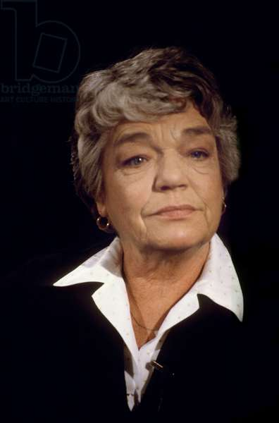 French Actress Simone Signoret during TV Programme February 14, 1985 (photo)