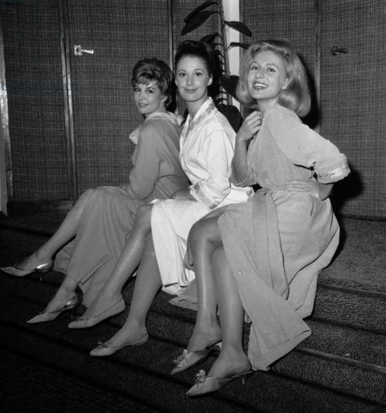 "Veronique Silver (Virlojeux), Jenny Dolcey and Annick Bouquet in Play ""Boeing Boeing"" September 27, 1963 (b/w photo)"