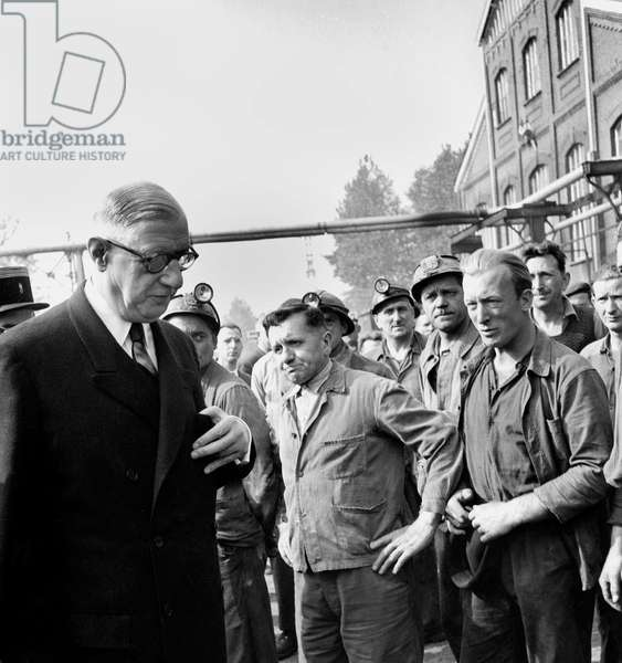 French President Charles De Gaulle Visiting The Mines in Haillicourt (North of France) September 26, 1959 (b/w photo)