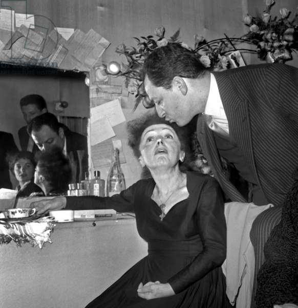 French Singer Edith Piaf in The Dressing Room at Olympia here With Charles Dumont December 30, 1960 (b/w photo)